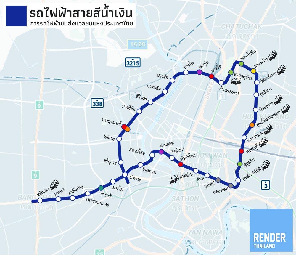 จุดเด่นของสายสีน้ำเงินเลยคือเส้นนี้วิ่งเกือบจะเป็นวงกลม รอบๆ เมือง  และมีบางส่วนที่ผ่านเข้าไปในกรุงเทพชั้นใน ทำให้รถไฟฟ้าสายนี้จะผ่านจุดสำคัญๆ  หลายแห่ง ...